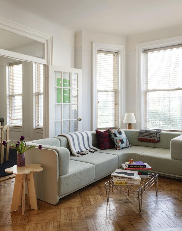 Emmanuel commissioned furniture designer Sam Stewartto make the sofa.