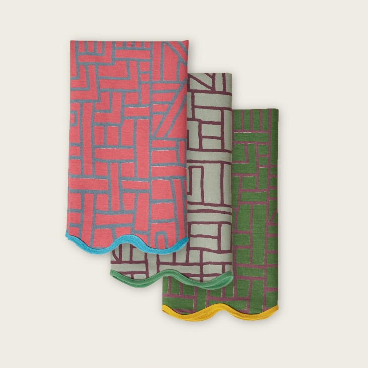 above: siafu home's congolese napkins come in two colorways: night, shown her 11