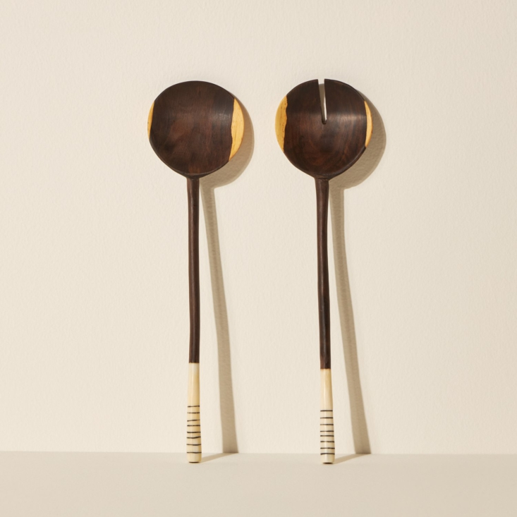 above: pretty ebony salad spoons by siafu home (\$50) are eco minded and low wa 16