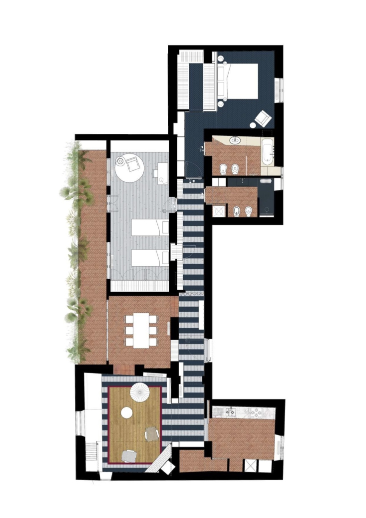 The plan of the apartment, mapped with the different types of flooring throughout.