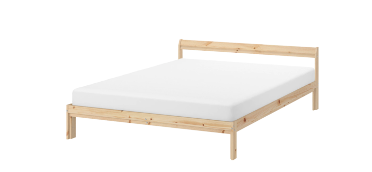 The low-profile pine Neiden Bed from Ikea is $75.