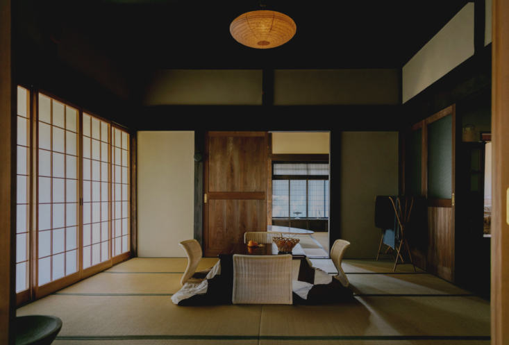 """The kotatsu, a low table with a heavy blanket, is a traditional Japanese home feature. """"During the colder winter months, the kotatsu, which has a heating element underneath, becomes an important part of our daily life – a place to eat, drink, play and rest,"""" says Ryo."""