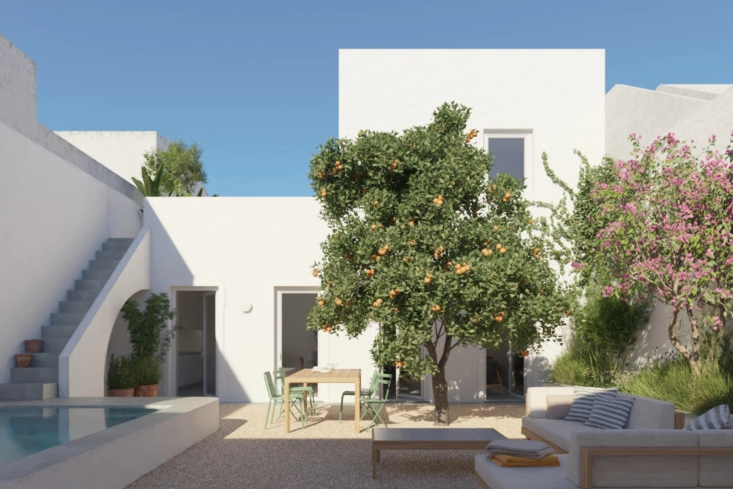 One Two Three Minimalist Guesthouses on the Coast of Portugal Pools Included The latest of the guesthouses, Casa Três, will be available for rent this summer. Despite the spacious courtyard, orange tree, and pool, it&#8\2\17;s located in the historic city of Vila Real de Santo António, a stone&#8\2\17;s throw—across the Guadiana river—from Spain.