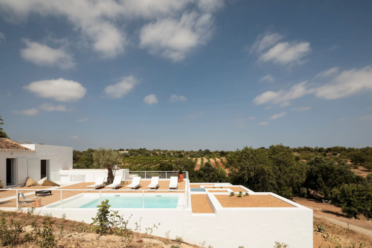 One Two Three Minimalist Guesthouses on the Coast of Portugal Pools Included The roof of the lower level bedrooms doubles as a place to lounge in the Portuguese sun or go for a dip.