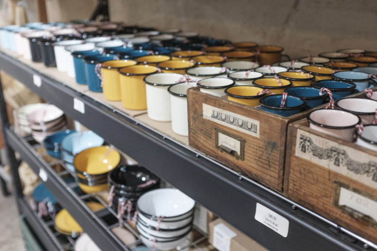 Enamelware mugs, $4, bowls, $7.79, and plates, $8., are made by a Mexico City factory in custom colors.
