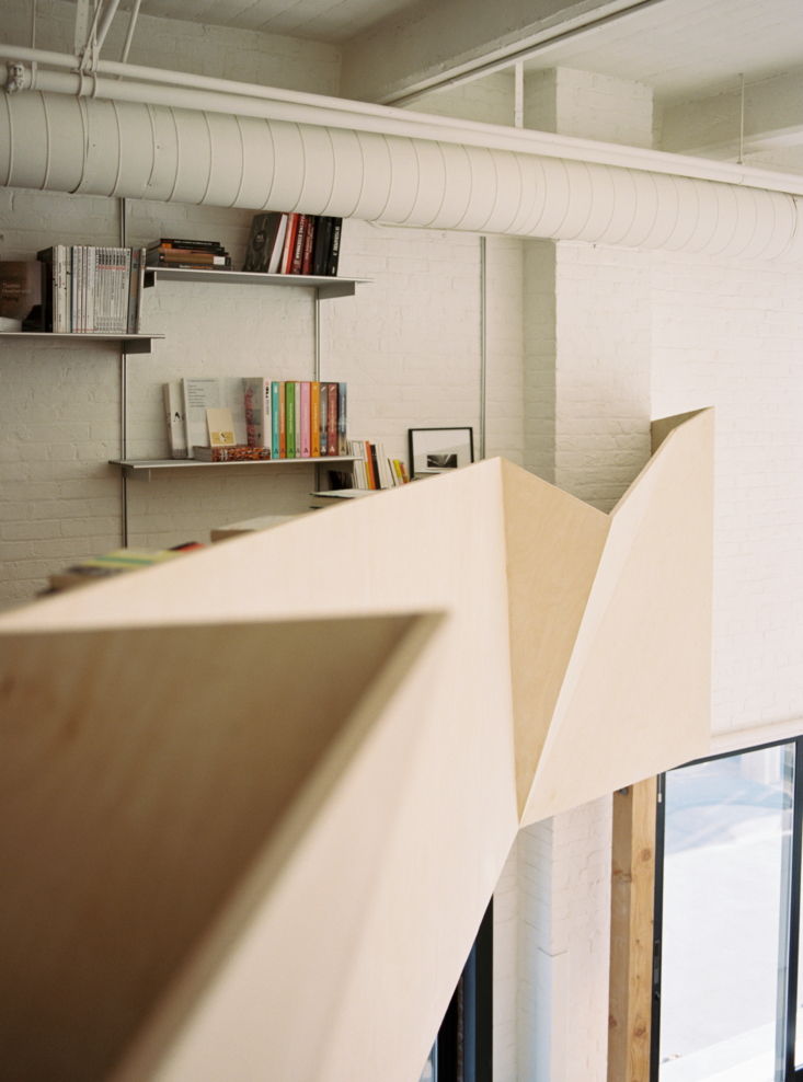 the angular guardrail is made from \10 custom fabricated panels fitted together 16