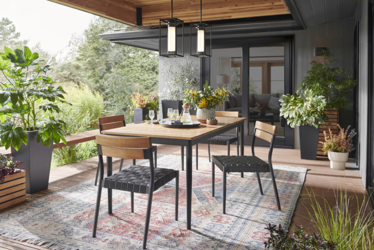 Above: Or create a patio, deck, or garden space to live in all summer long, with Rejuvenation's outdoor rugs (like the Myers Indoor/Outdoor Rug shown here, $849 for the 8&#
