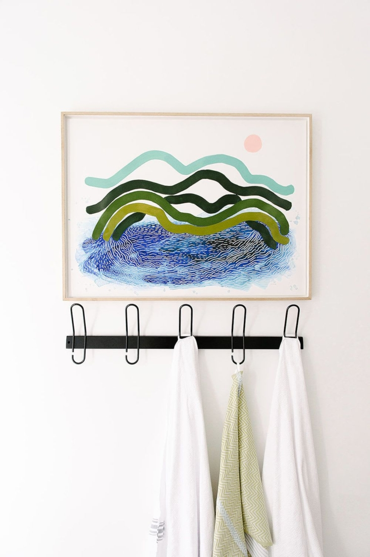 Something for Every Wall Artful Pieces by Independent Makers on Wescover Multimedia artist Ruth Le Roux's work is inspired by nature and her childhood in South Africa; her Sea \1 print (from \$\140) makes a bright, summer y addition to this Cape Town bath.