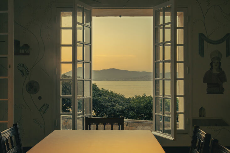 the room overlooks the sea and is available to book for private gatherings. 15