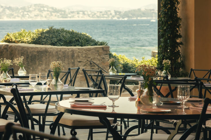 at the la ponche restaurant, guests can dine al fresco looking out over the sea. 23