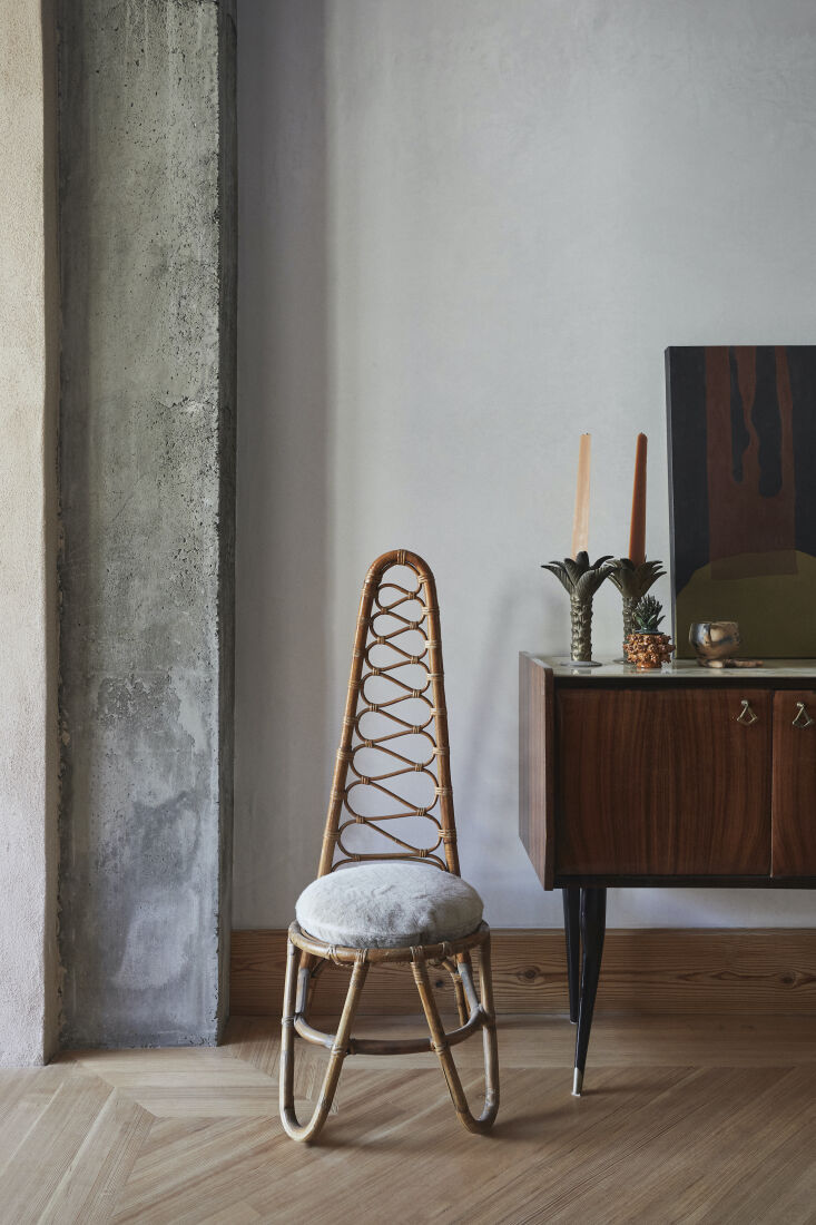 a \1960s rattan high back chair and \1950s rosewood console table, both italian 13