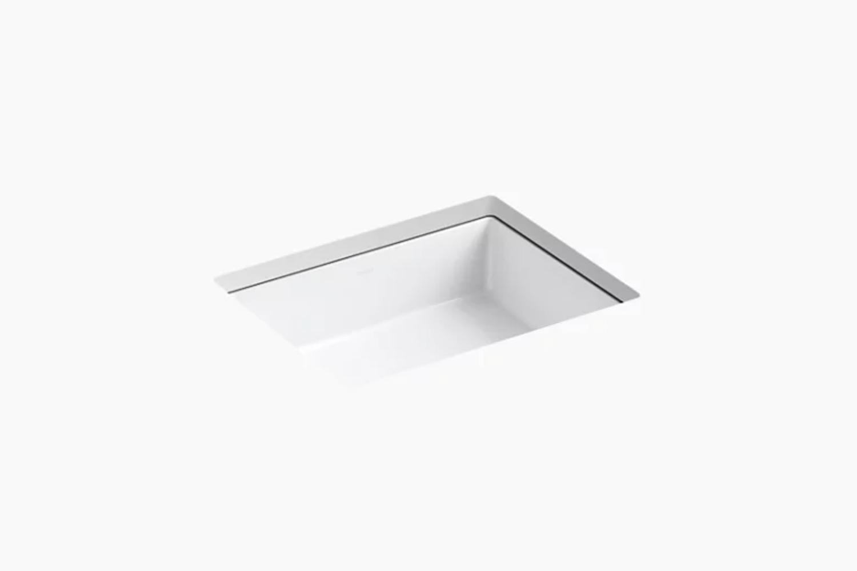 the kohler verticyl rectangle undermount bathroom sink is \$\2\15.65 at kohler. 18