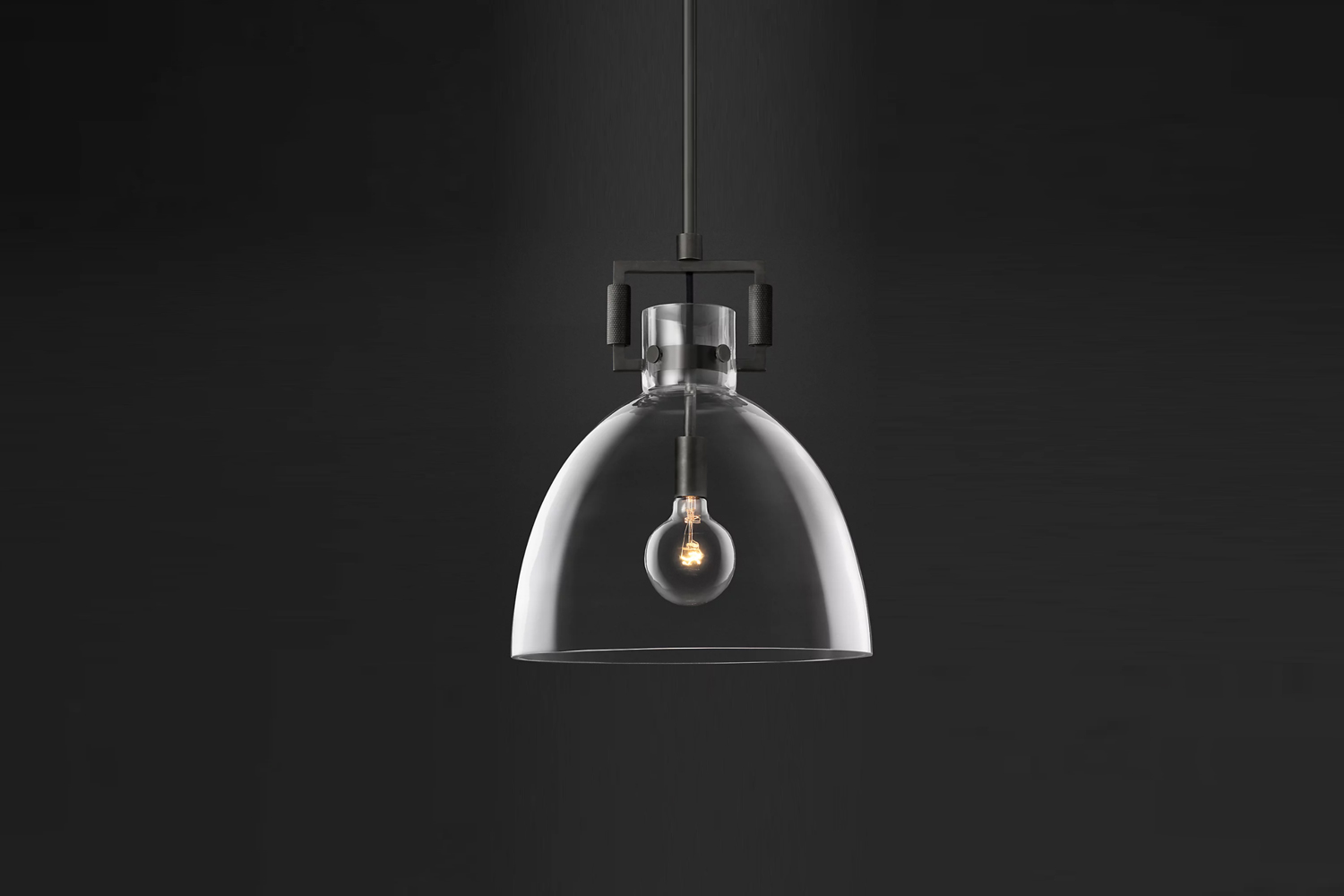 the machinist glass cloche pendant, shown with bronze hardware, is \$7\15 at re 18