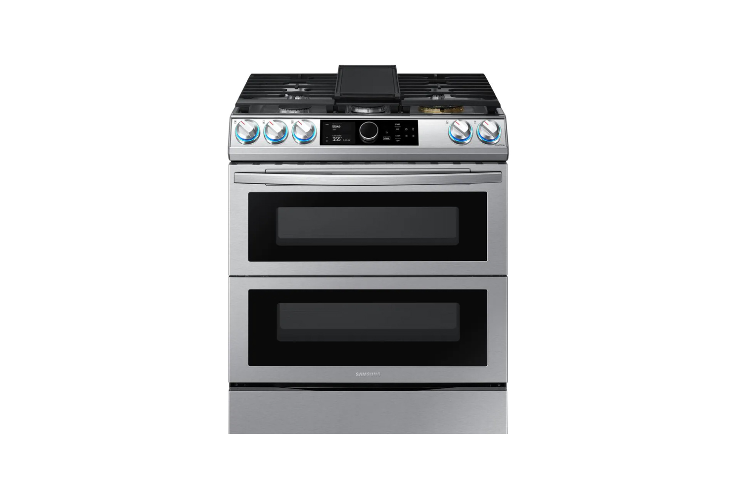 the samsung flex duo gas range stainless steel is \$\2,788 at the home depot. 18