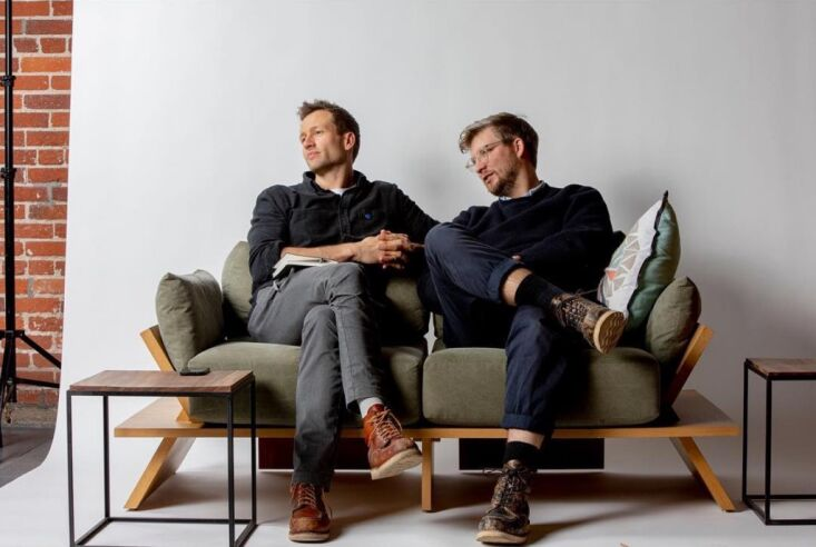 bobby petersen (l) and tom gottelier (r) on a sofa that assembles with no tools 19