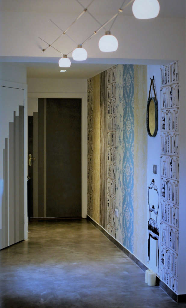 Hall. Wallpaper collage. Recycled Mirror. String lights. Hand painted doors.